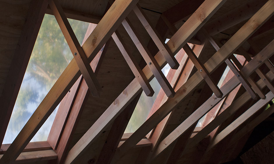 This should be a lovely picture of wooden roof trusses.